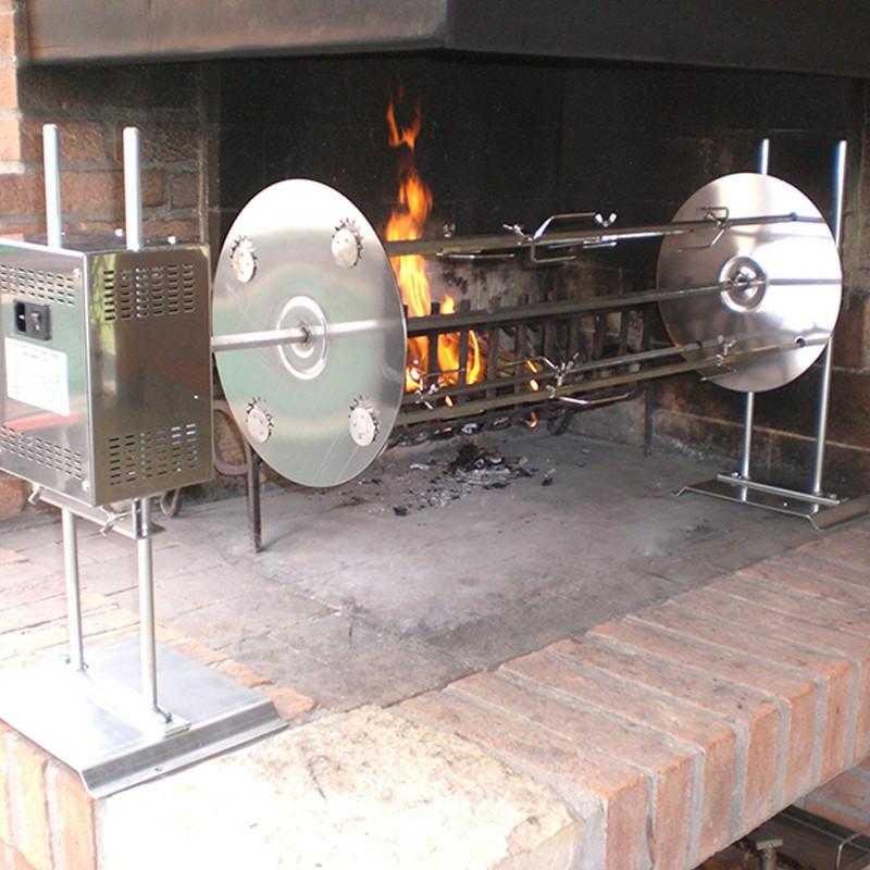 Girarrosto elettrico con spiedo orbitale in acciaio inox 304