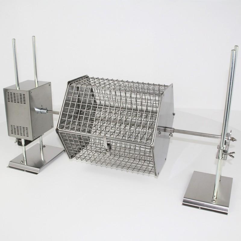 Girarrosto elettrico con spiedo e cesta girevole
