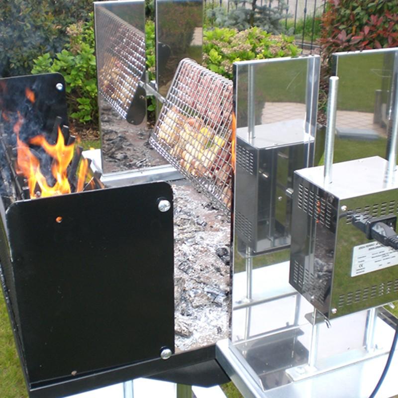Barbecue Maxi con girarrosto elettrico e Griglia girevole in acciaio inox 304