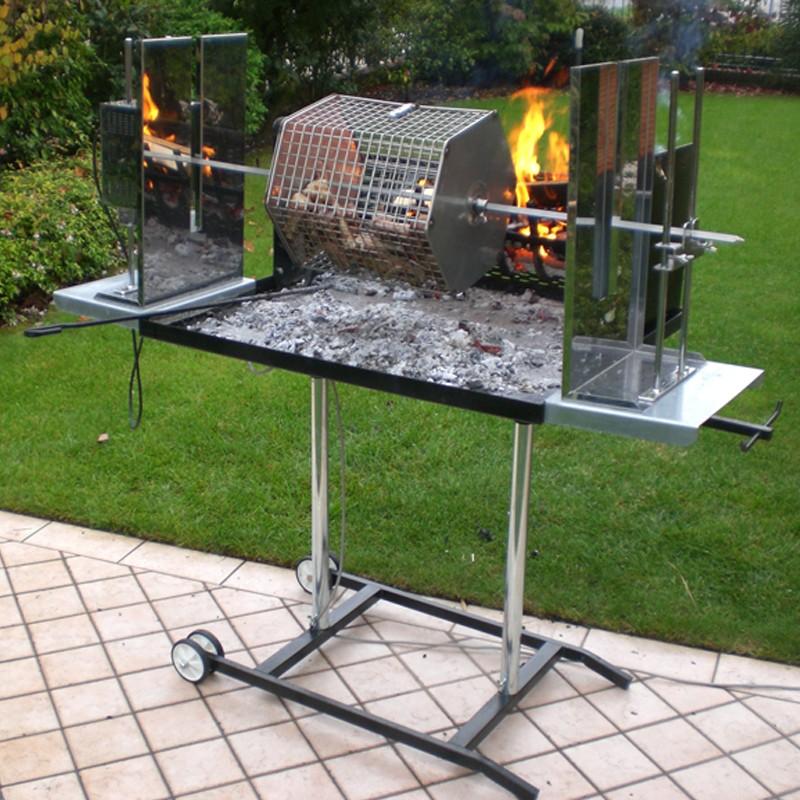 Barbecue Maxi con girarrosto elettrico e Cesta girevole in acciaio inox 304